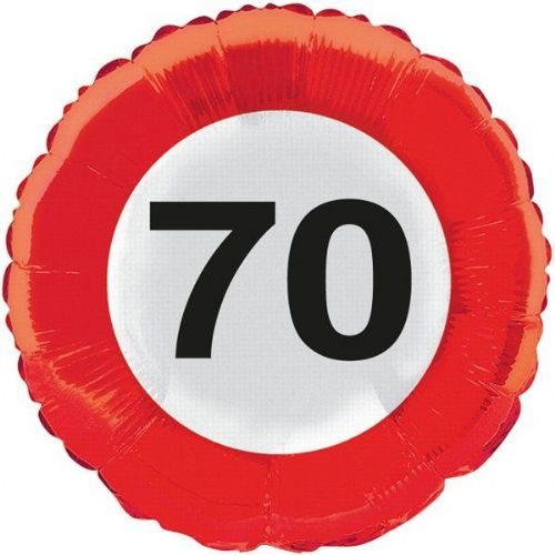 Traffic Sign 70th Party Foil Balloon Packet Birthday Helium Decoration
